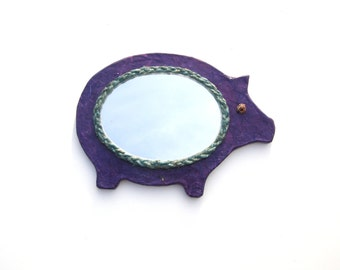 Decorative Wall Mirror,Violet Pig Mirror decorated with blue hemp rope,hippie furniture,home or office decor