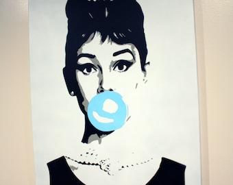 Audrey Hepburn Pop art Canvas painting 18x24