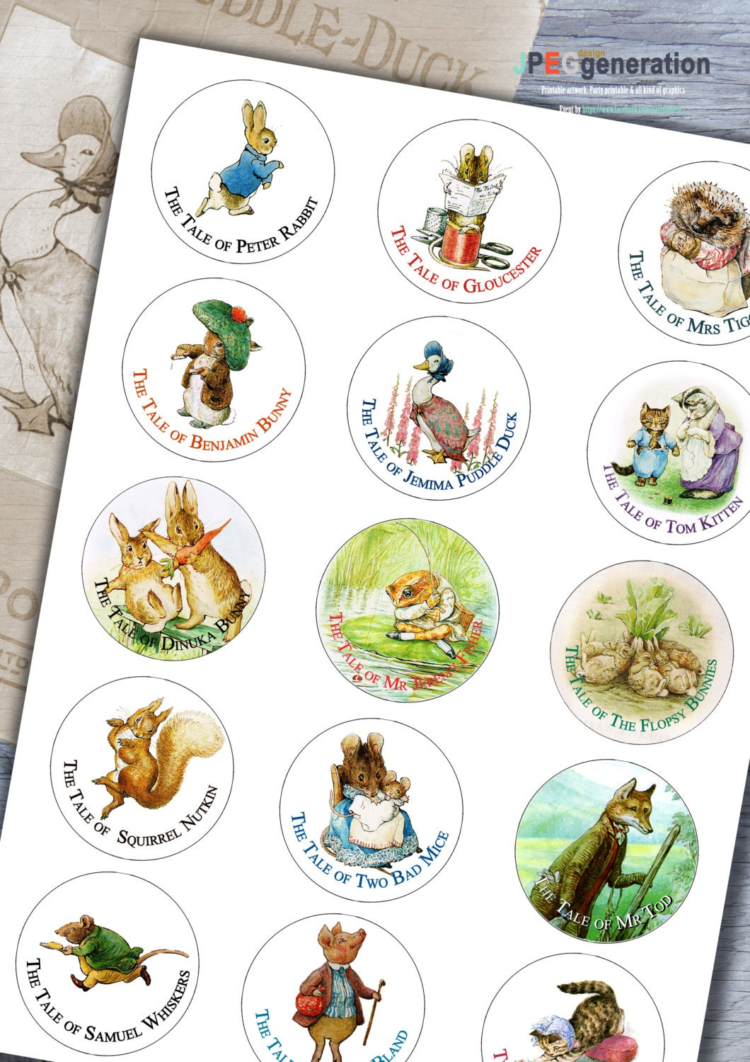 Peter Rabbit Beatrix Potter Cup Cake Toppers Cookie Toppers – Beatrix Potter Birthday Invitations