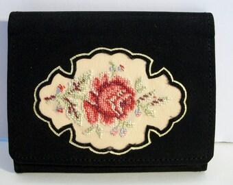 Black Needlepoint Roses Mirror Case West Germany Vintage Floral Rose