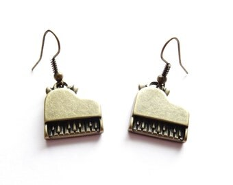 Vintage Piano Earrings - Steampunk Bronze Kitsch Antique Retro Musical Music