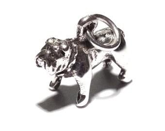 Genuine 925 Silver Bull Dog Charm - Staffy Pendant Bracelet Necklace Sterling Animal Wedding Christening Bride Bridesmaid Birthday Gift 18