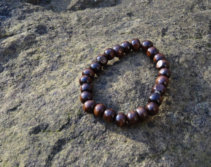 Wooden Bead Bracelet - Chocolate Brown Narra Wood Organic Beach Festival Surf Ethnic World Asian Tribal Tribe Alternative Gap Year