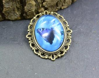 Brooch Butterfly Glass Metall