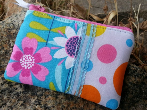 Girl's Floral Coin Purse, Turquoise and Pink Change Wallet