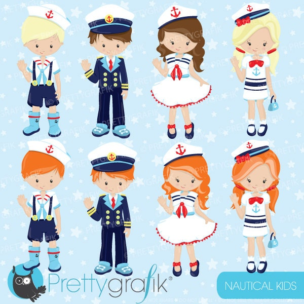 80% OFF SALE Nautical Kids clipart commercial use sailor