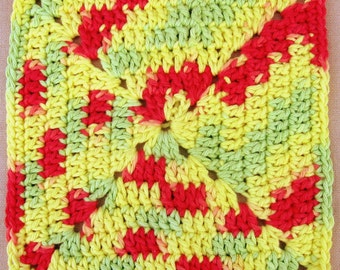 2 Crocheted Dishcloths Red, Yellow and Green Vintage Style Cotton Yarn