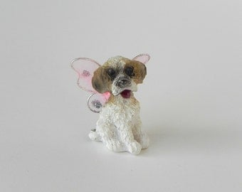 Miniature Fairy Dog Puppy fairy pet  - fairy garden accessories for terrarium or dollhouse