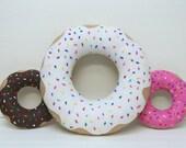 Doughnut Pillow, White Doughnut,  Kawaii Food Pillow, Decorative Pillow, Rainbow Sprinkles,Hand Sewn, Washing Machine Safe