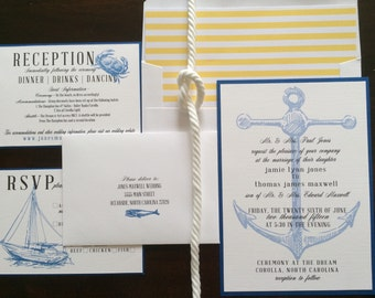 Nautical wedding invitation DEPOSIT