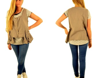 BS900 Ladies Upper Vest blouse top linen linen gr. S-L Taupe