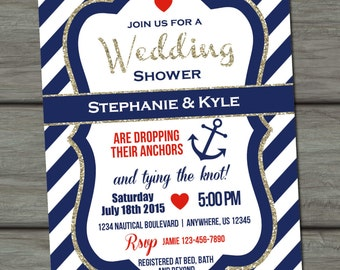 Nautical Wedding Shower Invitation, Navy and Gold, Glitter Wedding Shower Invitation, Glam, Tying the Knot, Coed Wedding Shower