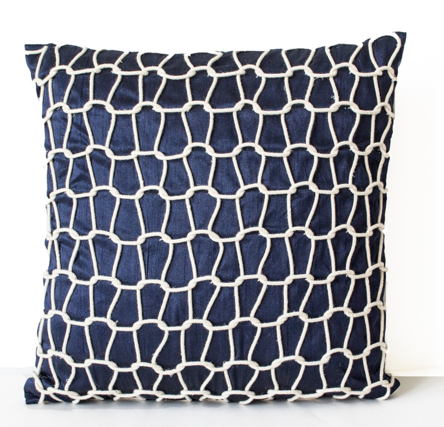 Decorative Pillows Navy : Navy Decorative Pillow Cover Blue Silk Pillow Cases Navy