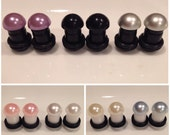 American Made Acrylic Faux Pearl Plugs 4g-00g One Pair You choose size and colors