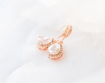 Rosegold crystal earrings, bridal jewelry, wedding jewelry