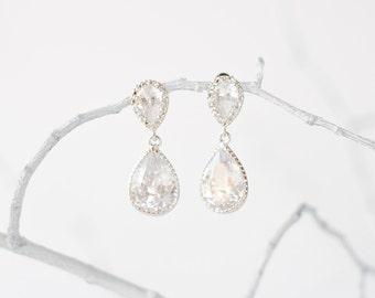 Silver crystal earrings, bridal jewelry, wedding jewelry