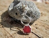 Bonfire Red Sea Glass Necklace Pendant - Odyssey Sea Glass Jewelry - Silver Bezel LJ0002