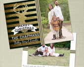 Rustic Gold Reindeer with Stripes Christmas Holiday Photo Card printable or printed