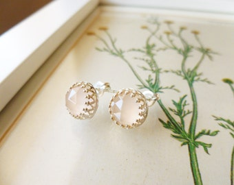 Pink Chalcedony and Sterling Silver Earrings, Edith
