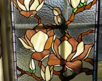 Stained glass Bird on Magnolia branch