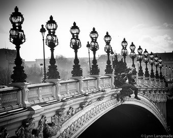"Paris Black and White - bridge street lamps pont alexandre paris photography paris wall decor bridge photos 8x10 5x7 11x14 16x20 - ""Passage"""