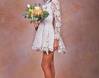 Daniela Lace SHORT WEDDING DRESS. ivory or white crochet lace bohemian wedding dress. long sleeves. Lace reception mini dress.