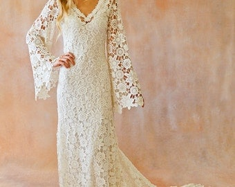 BOHO WEDDING DRESS. Bell Sleeve Simple Crochet Lace Bohemian Wedding Dress with Train.  Vintage Style Crochet Lace Hippie Wedding Gown
