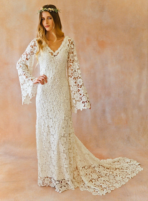 boho wedding dress bell sleeve simple crochet lace bohemian