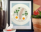 Cream Soup. Illustration art giclée print signed by the artist. 30x40cm.  Eggs and white sausage in a cream soup, yummy.