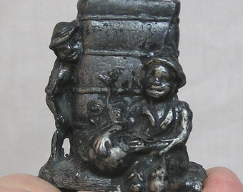 Pot Metal Black Americana Match or Toothpick Holder / Two Boys Playing Around Cotton Bale / Black Memorabilia