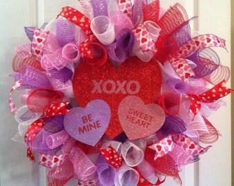 Valentine Wreath/ Conversation Hearts Valentine's Day Mesh Wreath/ Valentine's Day Deco Mesh Wreath
