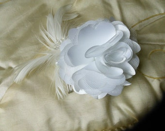 Bridal pearl feather and crystal hair comb