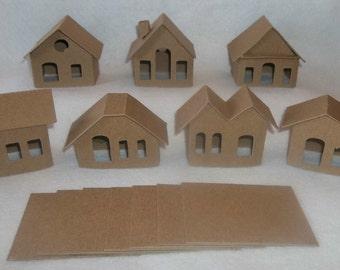 Mini Vintage Putz Style Houses- Set of 7