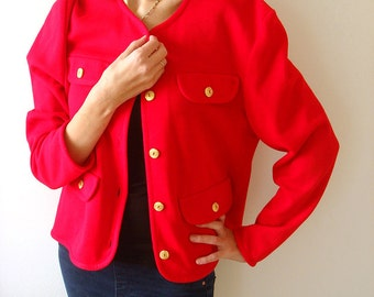 Bold Red women jacket with gold buttons, vintage 80s top, size L