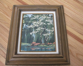 "ORIGINAL PAINTING (Paint By Number?) In Hecho-En-Mexico Distressed Walnut Frame 19 1/2"" x 22 1/2"""
