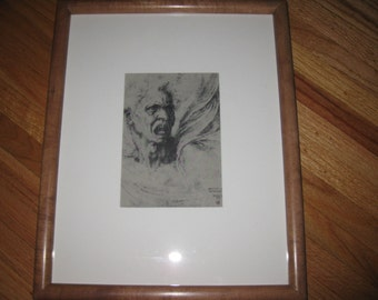 "MAN CALLING From A 1947 Art And Anatomy Bookplate Michaelangelo Buonarotti 1475-1564 Framed In Wood Frame 12 1/4"" x 15 1/4"""