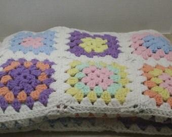 Afghan, vintage, pastel granny squares, baby blanket