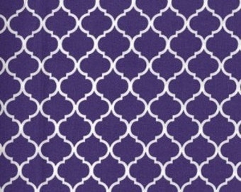 Mini Quatrefoil Fabric ~ Purple Quatrefoil ~ Fabric by The Yard ~ Moroccan or Geometric Style Fabric