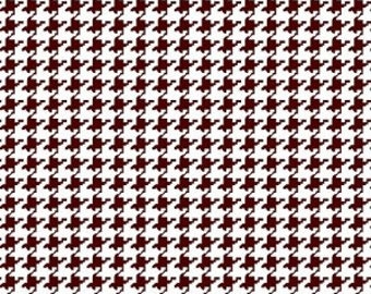 Burgundy Houndstooth Fabric --- 100 Percent Cotton --- Fabric By The Yard