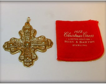 Vintage 1972 Reed & Barton Sterling Silver Christmas Cross with Original Keeper Sleeve