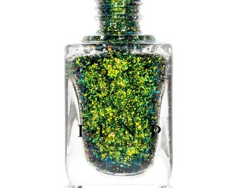 Open Fields -  Grass Green, Yellow, Blue Ultra Chrome Color Shifting Flakie Nail Polish