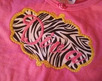 Pink zebra DIVA short sleeve embroidered tee shirt --size 18m