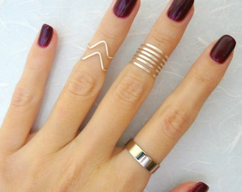 9 Above the Knuckle rings, Silver knuckle ring, Stacking rings, chevron knuckle rings