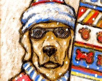 Labrador Retreiver Christmas Card of Yellow Lab Going Skiing or Snowboarding