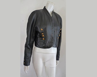 Black Leather jacket Mondi Military cropped   Gold metal buttons W  Germany