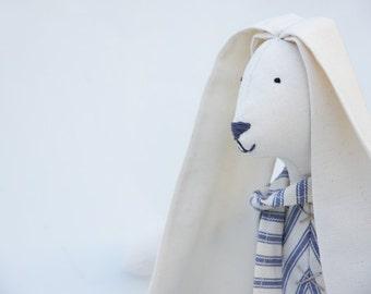 Striped Fabric Bunny Rabbit Personalised Eddie Soft Blue and Cream Ticking Lop Eared Large Boy Animal Doll Ooak Handmade British Maker