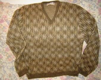 Mens Vintage Fuzzy Sweater Wool and Alpaca Mirapaca M Medium V Neck