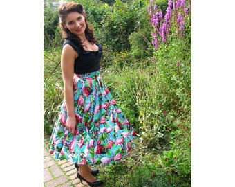 Fab Flamingo Swing Circle Skirt High Waisted Hawaiin 1940s 1950s Vintage Pinup Retro Style Burlesque Rockabilly