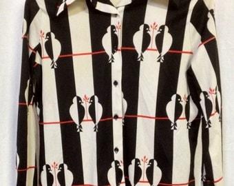 Retro Black and White Love Birds Shirt