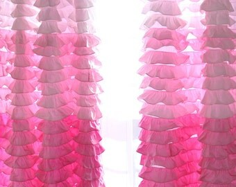 Pink Gradient Ombre Ruffled Waterfall Curtain Panel Ready to ship